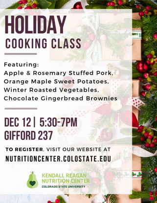 Holiday Cooking Class details- menu, location, time